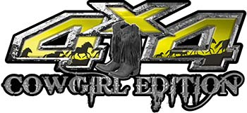 Cowgirl Edition with Boots 4x4 ATV Truck or SUV Vehicle Decal / Sticker Kit in Yellow with Horses