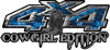 Cowgirl Edition with Boots 4x4 ATV Truck or SUV Vehicle Decal / Sticker Kit in Blue Inferno Flames