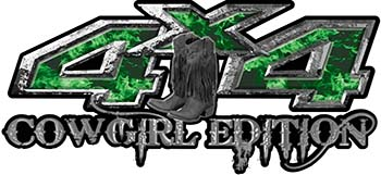 Cowgirl Edition with Boots 4x4 ATV Truck or SUV Vehicle Decal / Sticker Kit in Green Inferno Flames