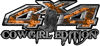 Cowgirl Edition with Boots 4x4 ATV Truck or SUV Vehicle Decal / Sticker Kit in Orange Inferno Flames