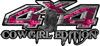 Cowgirl Edition with Boots 4x4 ATV Truck or SUV Vehicle Decal / Sticker Kit in Pink Inferno Flames