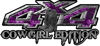 Cowgirl Edition with Boots 4x4 ATV Truck or SUV Vehicle Decal / Sticker Kit in Purple Inferno Flames