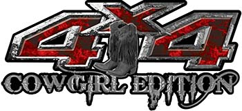 Cowgirl Edition with Boots 4x4 ATV Truck or SUV Vehicle Decal / Sticker Kit in Red Inferno Flames