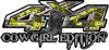 Cowgirl Edition with Boots 4x4 ATV Truck or SUV Vehicle Decal / Sticker Kit in Yellow Inferno Flames
