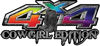 Cowgirl Edition with Boots 4x4 ATV Truck or SUV Vehicle Decal / Sticker Kit in Rainbow Colors