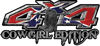 Cowgirl Edition with Boots 4x4 ATV Truck or SUV Vehicle Decal / Sticker Kit in Rebel Confederate Flag