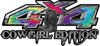 Cowgirl Edition with Boots 4x4 ATV Truck or SUV Vehicle Decal / Sticker Kit in Tie Dye Colors