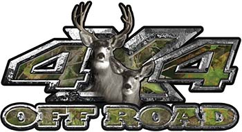 Deer Hunting Edition with Buck and Doe 4x4 ATV Truck or SUV Vehicle Decal / Sticker Kit in Camouflage