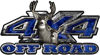 Deer Hunting Edition with Buck and Doe 4x4 ATV Truck or SUV Vehicle Decal / Sticker Kit in Blue Camouflage