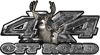 Deer Hunting Edition with Buck and Doe 4x4 ATV Truck or SUV Vehicle Decal / Sticker Kit in Gray Camouflage