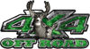 Deer Hunting Edition with Buck and Doe 4x4 ATV Truck or SUV Vehicle Decal / Sticker Kit in Green Camouflage