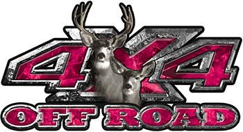 Deer Hunting Edition with Buck and Doe 4x4 ATV Truck or SUV Vehicle Decal / Sticker Kit in Pink Camouflage