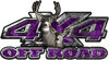 Deer Hunting Edition with Buck and Doe 4x4 ATV Truck or SUV Vehicle Decal / Sticker Kit in Purple Camouflage