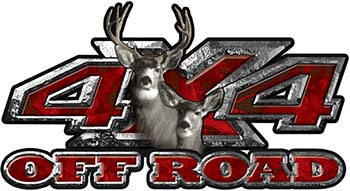 Deer Hunting Edition with Buck and Doe 4x4 ATV Truck or SUV Vehicle Decal / Sticker Kit in Red Camouflage