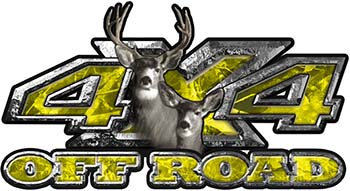 Deer Hunting Edition with Buck and Doe 4x4 ATV Truck or SUV Vehicle Decal / Sticker Kit in Yellow Camouflage