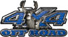 Deer Hunting Edition with Buck and Doe 4x4 ATV Truck or SUV Vehicle Decal / Sticker Kit in Blue Diamond Plate