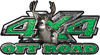 Deer Hunting Edition with Buck and Doe 4x4 ATV Truck or SUV Vehicle Decal / Sticker Kit in Green Diamond Plate