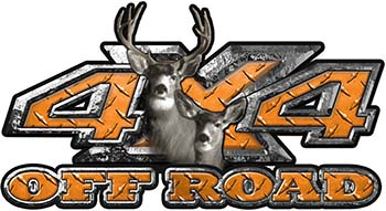 Deer Hunting Edition with Buck and Doe 4x4 ATV Truck or SUV Vehicle Decal / Sticker Kit in Orange Diamond Plate