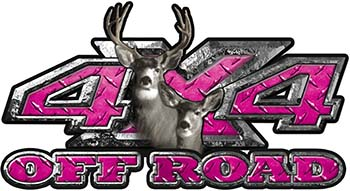 Deer Hunting Edition with Buck and Doe 4x4 ATV Truck or SUV Vehicle Decal / Sticker Kit in Pink Diamond Plate