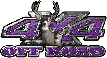 Deer Hunting Edition with Buck and Doe 4x4 ATV Truck or SUV Vehicle Decal / Sticker Kit in Purple Diamond Plate