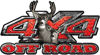 Deer Hunting Edition with Buck and Doe 4x4 ATV Truck or SUV Vehicle Decal / Sticker Kit in Red Diamond Plate