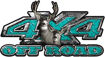Deer Hunting Edition with Buck and Doe 4x4 ATV Truck or SUV Vehicle Decal / Sticker Kit in Teal Diamond Plate