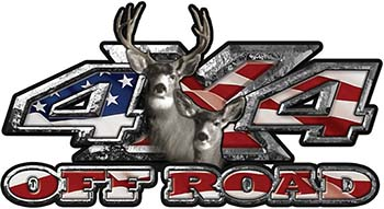 Deer Hunting Edition with Buck and Doe 4x4 ATV Truck or SUV Vehicle Decal / Sticker Kit with American Flag