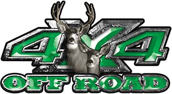 Deer Hunting Edition with Buck and Doe 4x4 ATV Truck or SUV Vehicle Decal / Sticker Kit in Green
