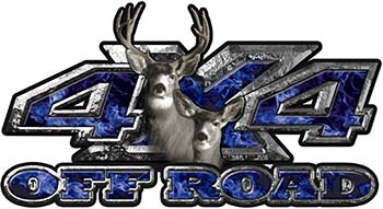 Deer Hunting Edition with Buck and Doe 4x4 ATV Truck or SUV Vehicle Decal / Sticker Kit in Blue Inferno Flames