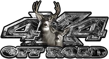Deer Hunting Edition with Buck and Doe 4x4 ATV Truck or SUV Vehicle Decal / Sticker Kit in Gray Inferno Flames