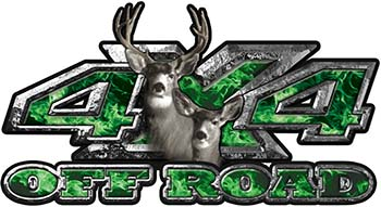 Deer Hunting Edition with Buck and Doe 4x4 ATV Truck or SUV Vehicle Decal / Sticker Kit in Green Inferno Flames