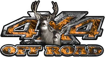 Deer Hunting Edition with Buck and Doe 4x4 ATV Truck or SUV Vehicle Decal / Sticker Kit in Orange Inferno Flames