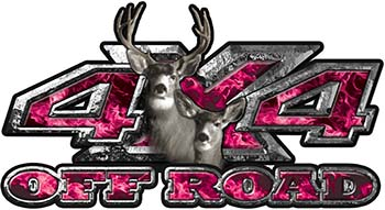 Deer Hunting Edition with Buck and Doe 4x4 ATV Truck or SUV Vehicle Decal / Sticker Kit in Pink Inferno Flames