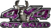 Deer Hunting Edition with Buck and Doe 4x4 ATV Truck or SUV Vehicle Decal / Sticker Kit in Purple Inferno Flames