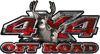 Deer Hunting Edition with Buck and Doe 4x4 ATV Truck or SUV Vehicle Decal / Sticker Kit in Red Inferno Flames