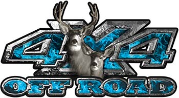 Deer Hunting Edition with Buck and Doe 4x4 ATV Truck or SUV Vehicle Decal / Sticker Kit in Teal Inferno Flames