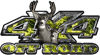 Deer Hunting Edition with Buck and Doe 4x4 ATV Truck or SUV Vehicle Decal / Sticker Kit in Yellow Inferno Flames