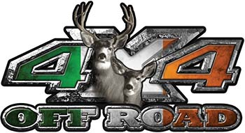 Deer Hunting Edition with Buck and Doe 4x4 ATV Truck or SUV Vehicle Decal / Sticker Kit with Irish Flag