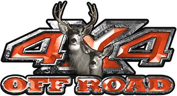 Deer Hunting Edition with Buck and Doe 4x4 ATV Truck or SUV Vehicle Decal / Sticker Kit in Orange