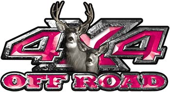 Deer Hunting Edition with Buck and Doe 4x4 ATV Truck or SUV Vehicle Decal / Sticker Kit in Pink