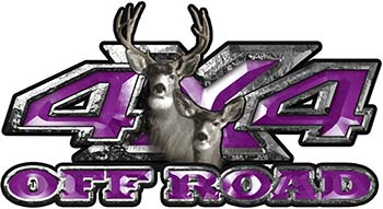 Deer Hunting Edition with Buck and Doe 4x4 ATV Truck or SUV Vehicle Decal / Sticker Kit in Purple