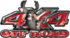 Deer Hunting Edition with Buck and Doe 4x4 ATV Truck or SUV Vehicle Decal / Sticker Kit in Red