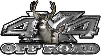 Deer Hunting Edition with Buck and Doe 4x4 ATV Truck or SUV Vehicle Decal / Sticker Kit in Silver