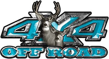 Deer Hunting Edition with Buck and Doe 4x4 ATV Truck or SUV Vehicle Decal / Sticker Kit in Teal