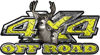 Deer Hunting Edition with Buck and Doe 4x4 ATV Truck or SUV Vehicle Decal / Sticker Kit in Yellow Diamond Plate