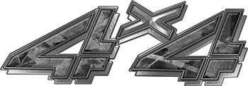 4x4 Chevy GMC Truck Style Bedside Sticker Set / Decal Kit in Gray Camouflage
