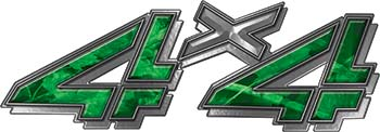 4x4 Chevy GMC Truck Style Bedside Sticker Set / Decal Kit in Green Camouflage