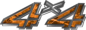 4x4 Chevy GMC Truck Style Bedside Sticker Set / Decal Kit in Orange Camouflage