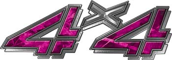 4x4 Chevy GMC Truck Style Bedside Sticker Set / Decal Kit in Pink Camouflage