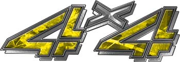 4x4 Chevy GMC Truck Style Bedside Sticker Set / Decal Kit in Yellow Camouflage